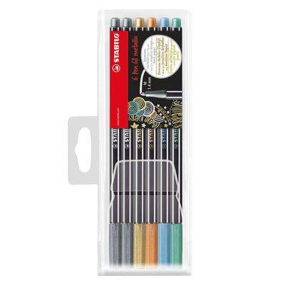 Stabilo-Marcador-Pen-68-Colores-Metalicos-Est.-6-Unids.