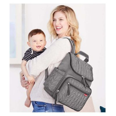 Pañalera-Backpack-Forma-Gris