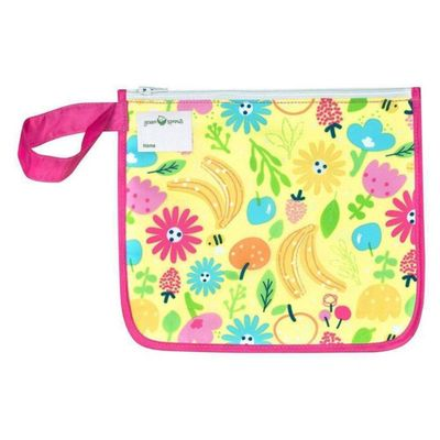 Snack-Bags-Reusables-Pink-Bee-Floral---Green-Sprouts