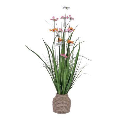 Grama-Con-Flor-Daisy-Lila-Y-Naranja-En-Pote---Concepts
