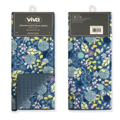 Alfombra-Para-Secar-Platos-Flor-Azul-50X38-Cm---Viva