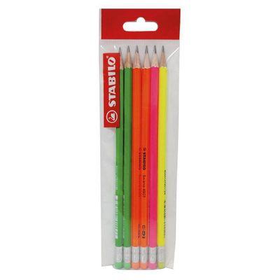 Stabilo-Lapiz-Swano-Hb-Colores-Fluorescentes-4-Unids.