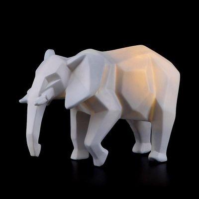 Lampara-De-Noche-De-Mesa--Elefante-Geometrico-Gris--Led-6X0.7W---Zlumini