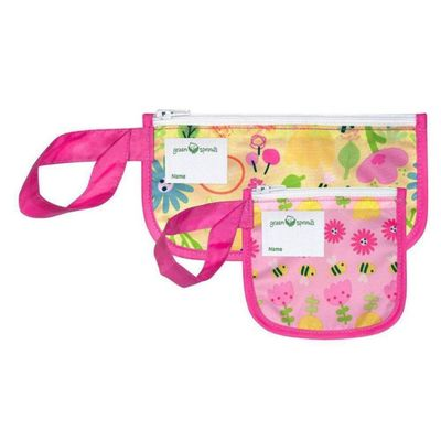Snack-Bags-Reusables-Pink-Bee-Floral-2Pk---Green-Sprouts