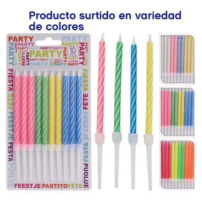 Velas-Para-Pastel-10-Piezas-Colores-Surtidos