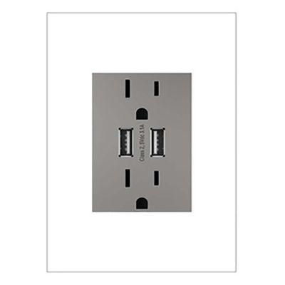 Tomacorriente-Doble---2-USB-Gris---Legrand