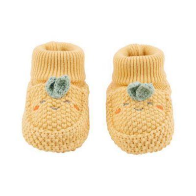 Calcetas-Tipo-Zapato-Crochet-Amarillo-Para-Recien-Nacido